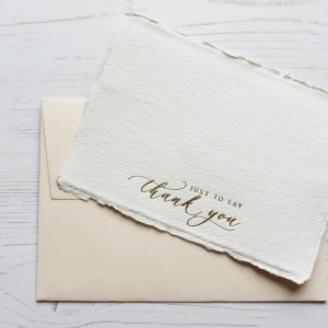 Gold foil handmade paper thank you cards with blush envelope