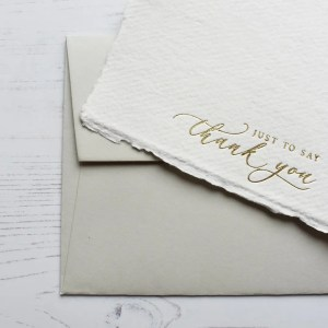 Gold Foil Thank You Cards with Grey Envelope