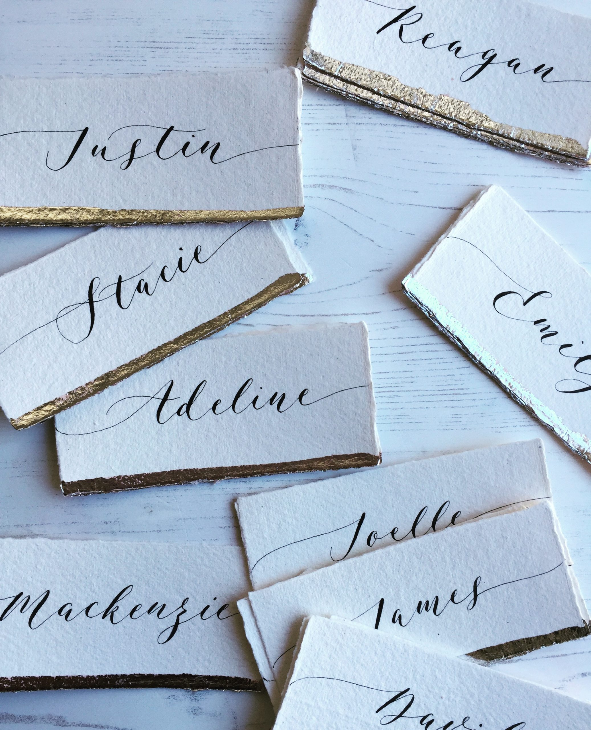 Wedding Place cards handmade paper silver foil