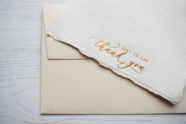 Copper foil handmade paper thank you cards with ivory envelope