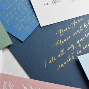 Navy personalised handwritten note with gold calligraphy ink