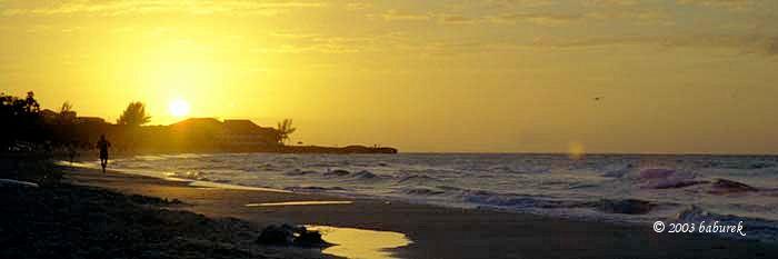 Sunset over Varadero beach, Cuba