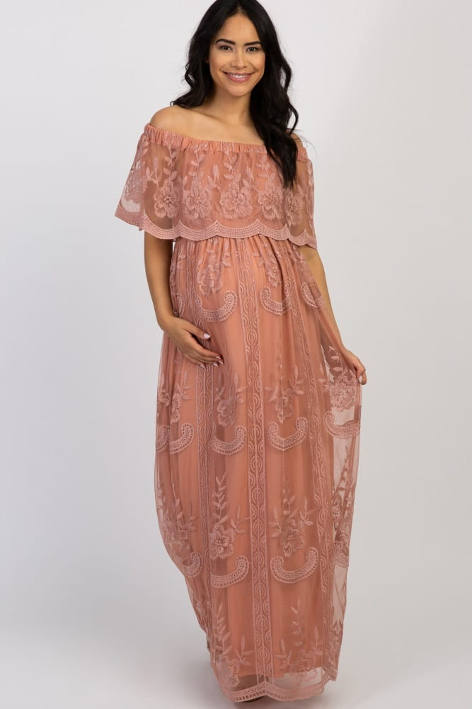 Light Pink Lace Mesh Overlay Off Shoulder Maternity Maxi Dress