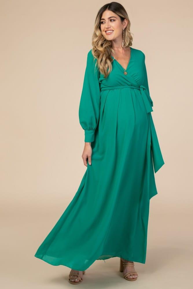 Green Chiffon Long Sleeve Pleated Maternity Maxi Dress