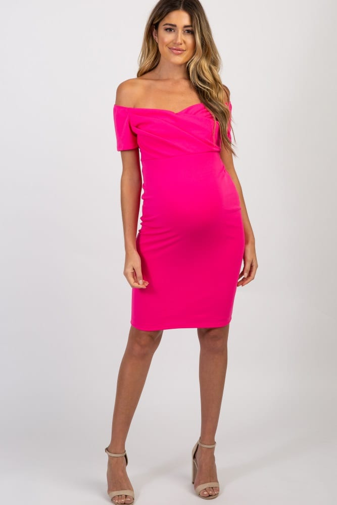 PinkBlush Fuchsia Solid Off Shoulder Maternity Fitted Dress
