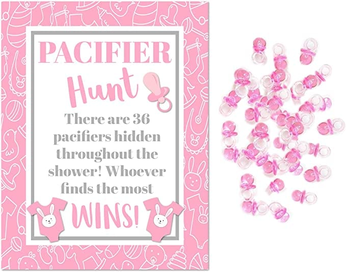Pink Plastic Pacifiers for Baby Shower Pacifier Hunt Girl Baby Shower Game