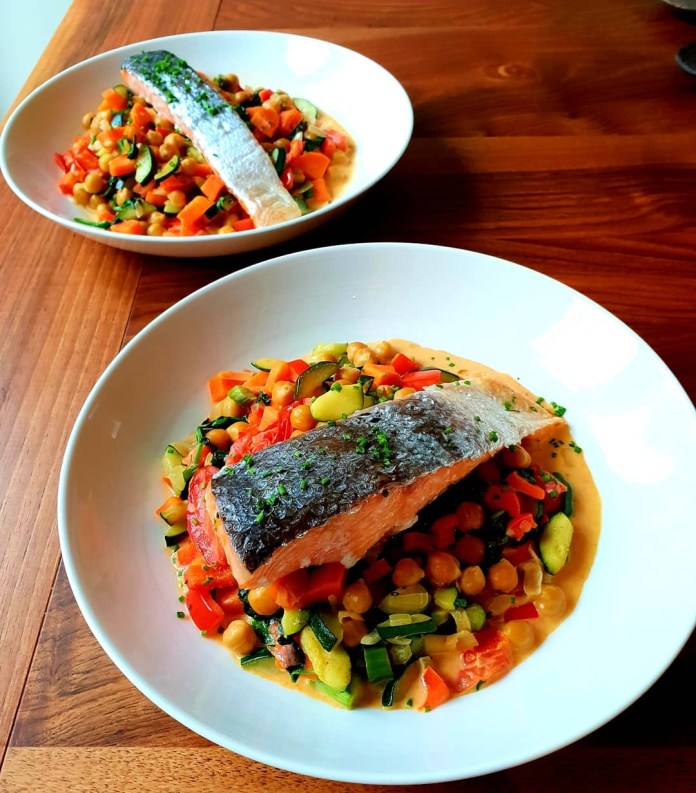 Roasted Lemon Salmon on a Bed of Spiced Chickpeas and Vegetables