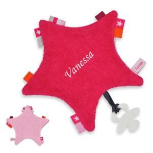 Labeldoekje - speendoekje roze met naam