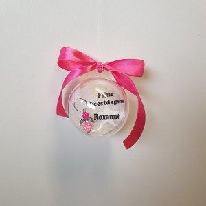 kerstbal met naam engel Roze