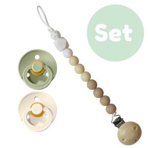 Sage set 0-6 mnd 2x Bibs speen + 1x speenketting