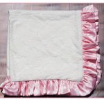 Cuddle Couture Ivory Lace Blanket With Pink Satin Trim