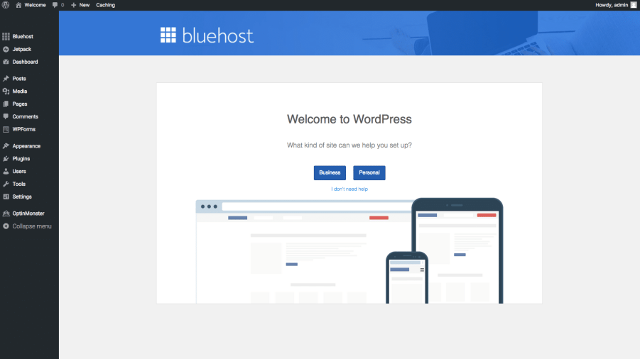 Baby Boomer blogging | hosting | Bluehost WordPress dashboard