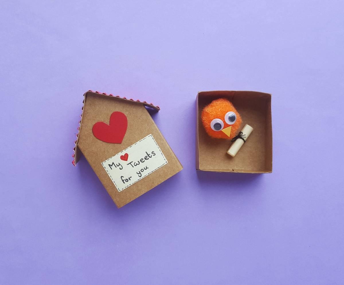 Matchbox Birdhouse and Pompom Bird
