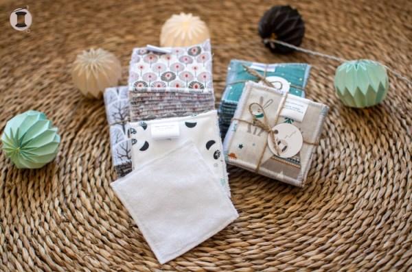 grandes lingettes lavables bébé coton démaquillant fait main