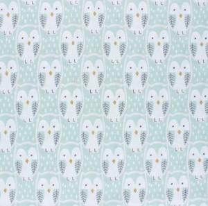 tissu coton hiboux celadon vert d'eau