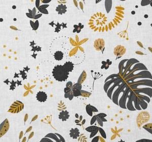 tissu coton tropique noir et ocre