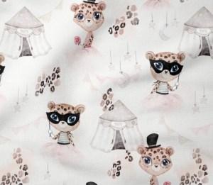 tissu coton cirque circus leopard