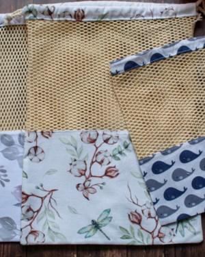 filet de lavage et sac à provision vrac zéro déchet fait main artisanal france