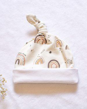 bonnet de naissance bébé arc en ciel créatrice fait main