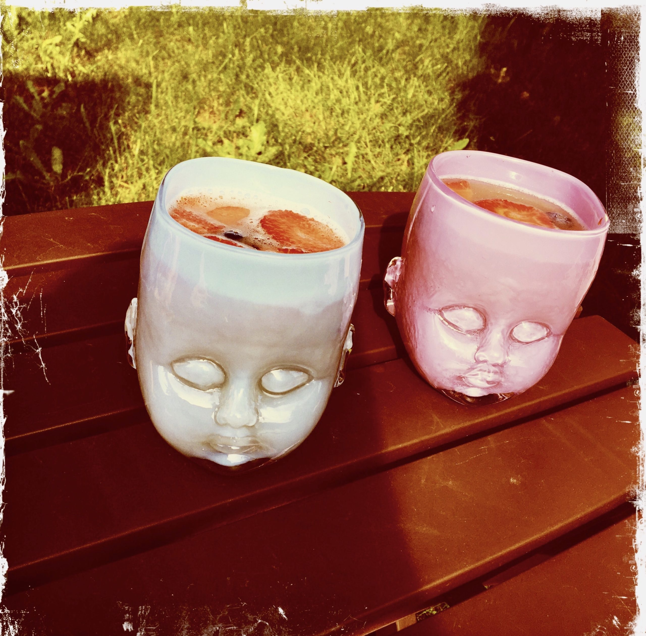 Baby Head Cups with Mojitos inside