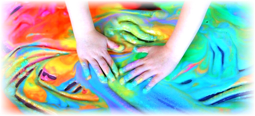 sensory play can be fun and colorful