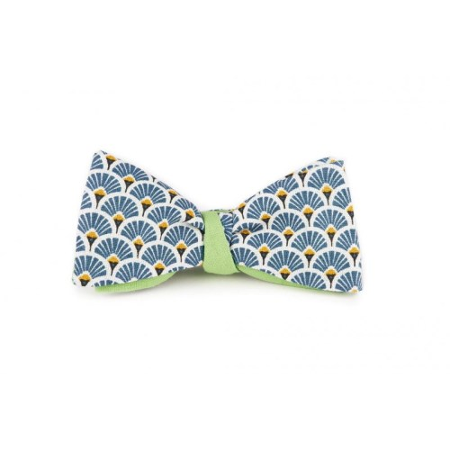 noeud-papillon-bleu-marine-a-motifs-japonais-eventails-reversible-vert-pistache