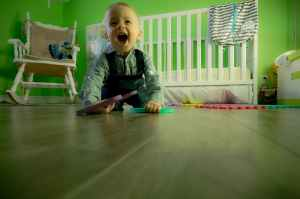 baby crawling in the nursery