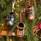 bronzed shoes on the Christmas tree