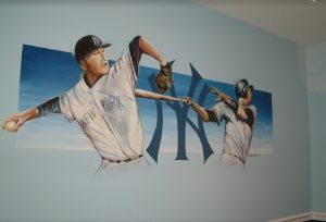 baseball mural for the nursery