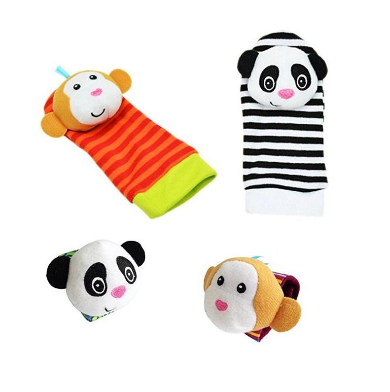 Soft Foot Sock Rattles Toys (Monkey&Panda) 4pcs Set