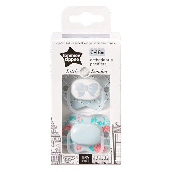 Tommee Tippee Little London Pacifier,6-18 Months, 2 Count Gray Bow Tie