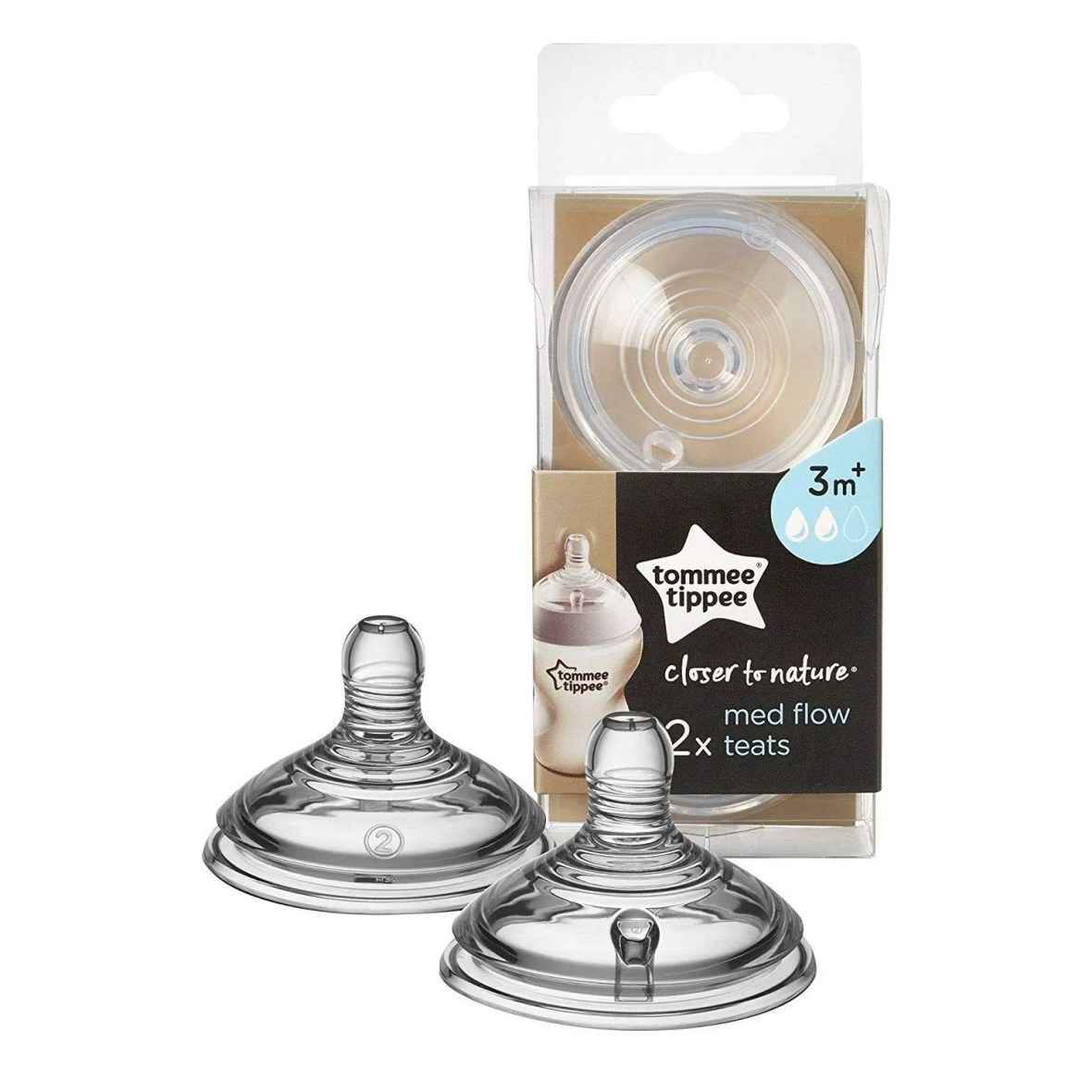 Tommee Tippee Closer to Nature Baby Bottle Feeding Nipple Replacement Teats, 3M+ Medium