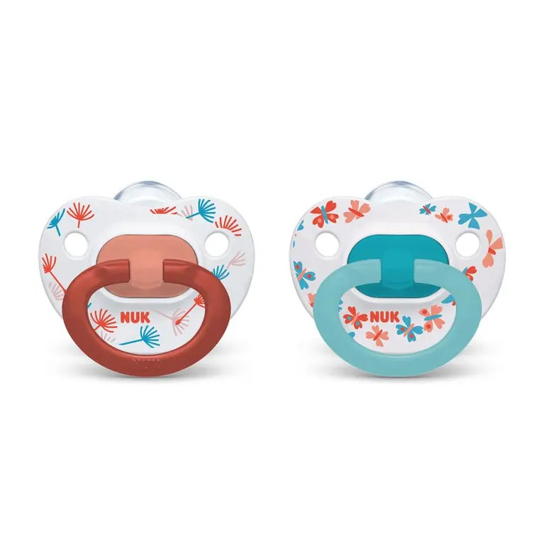 NUK Orthodontic Pacifiers, Red&Blue, 18-36 Months, 2-Pack