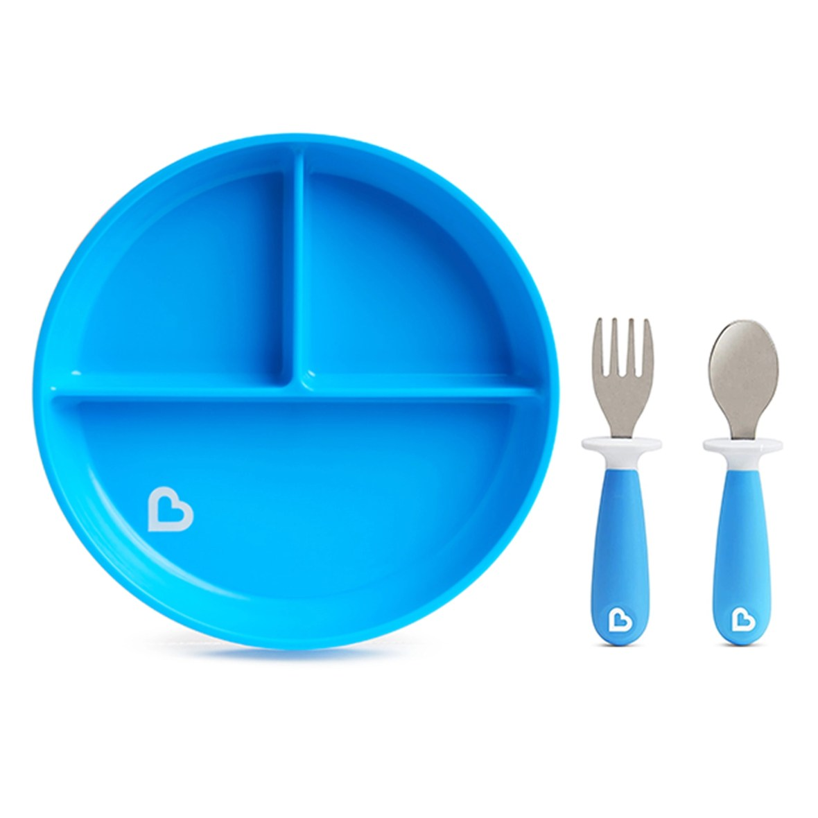 Munchkin Stay Put Divided Suction Plate with Fork & Spoon Blue
