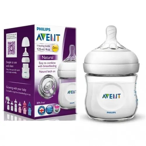 Philips Avent Natural Baby Bottle, Clear, 4oz, 1pk (Loose Pack)