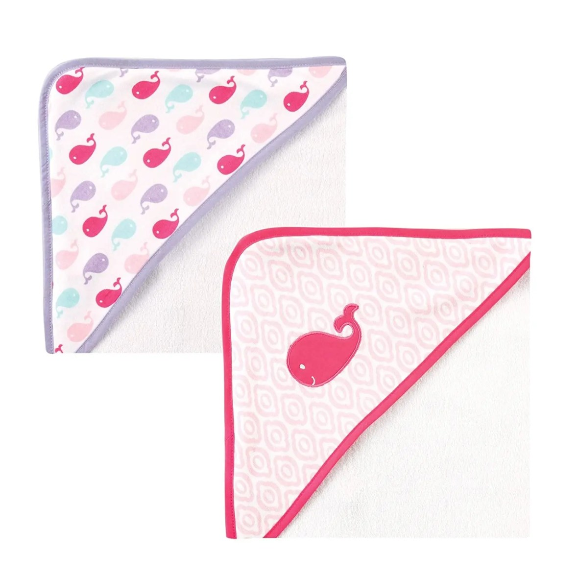 Luvable Friends Unisex Baby Cotton Terry Hooded Towels, Pink Whale 2 Pack