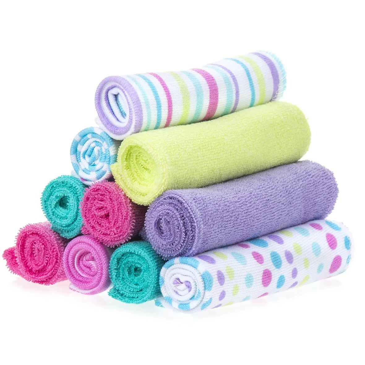 Spasilk 10 Pack Soft Terry Bath Washcloths Girlish