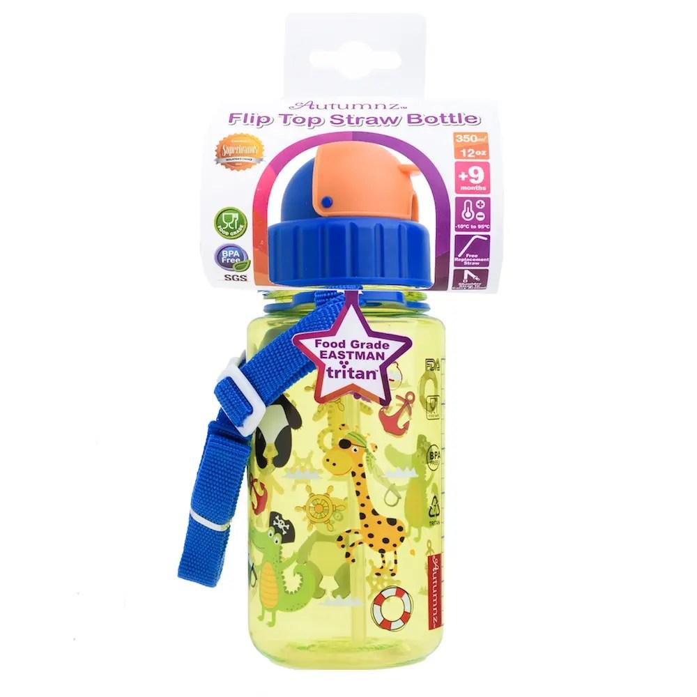 Autumnz – Flip Top Straw Bottle 350ml /12oz *Pirates*