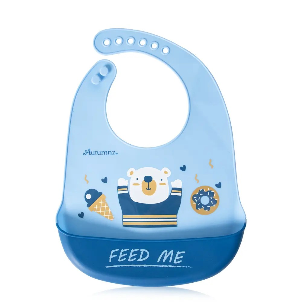 Autumnz Adjustable Soft Silicone Bib *Feed Me* (6m+)