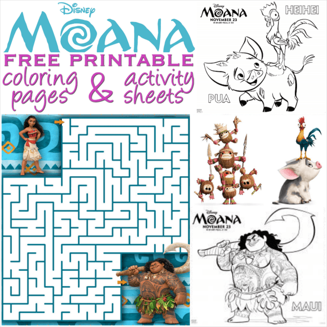 Moana coloring pages and activity sheets - Over 28 free Disney