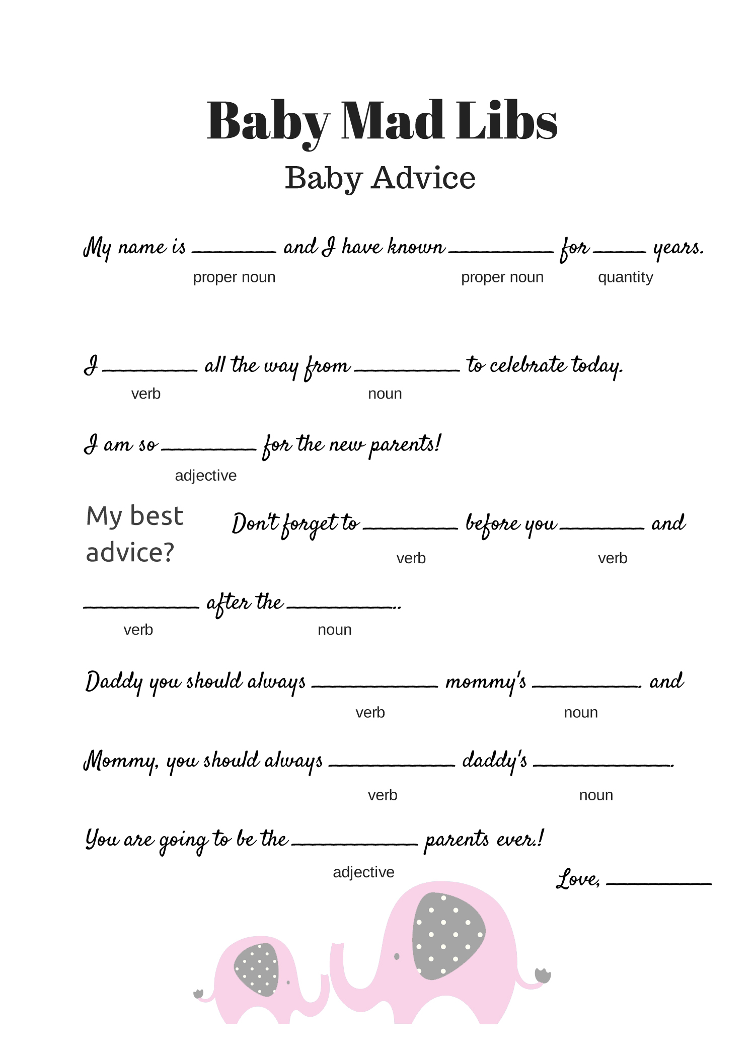 Pink Elephant Free Baby Shower Mad Libs Game Baby Advice Game