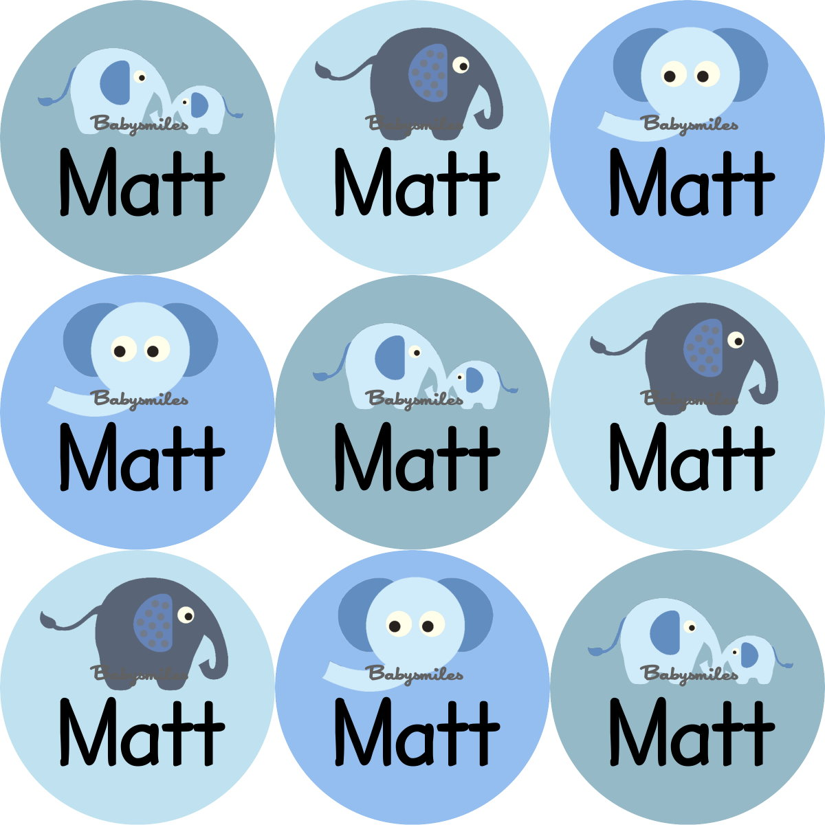 Baby Blue Elephant Round Personalized Name Labels