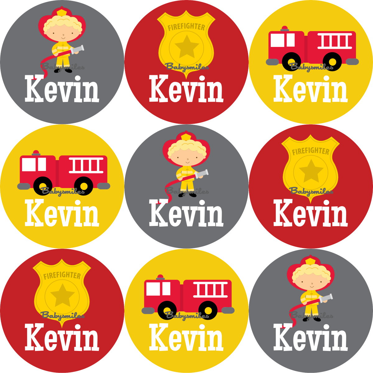 Firefighter Hero Round Personalized Name Labels