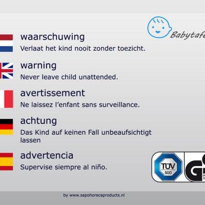 babytafel waarschuwingssticker in meerdere talen