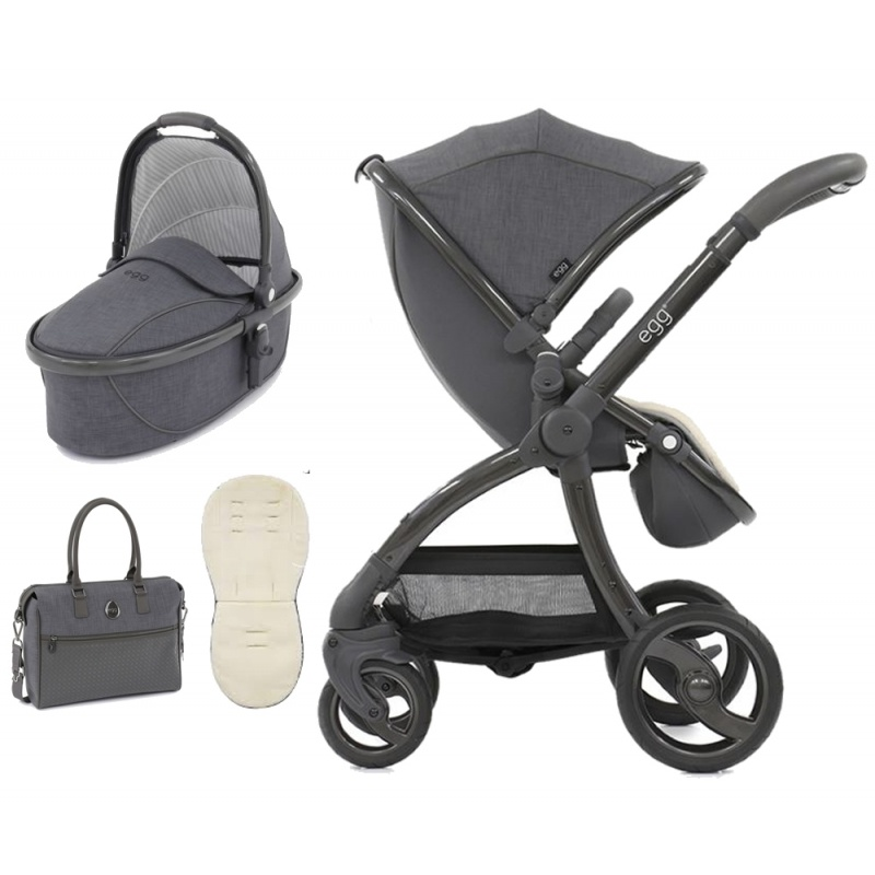 Egg Stroller All Season Grey Reversible Padded Fleece Seat Liner