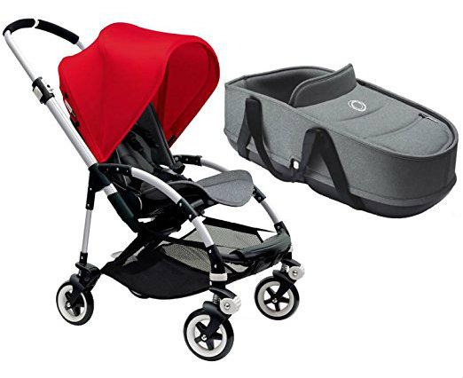 Bugaboo Bee3 Stroller With Bassinet - Aluminum/Grey Melange (Red)