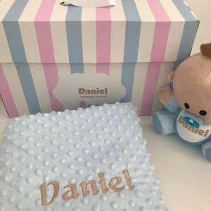 Pack Babyyo · Manta Topitos Blue Camel
