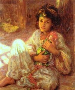 Etienne Dinet (1861-1930), Petite fille à la poupée