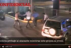El video del pleito donde un maje llevó un policía (prestado) de guardaespaldas