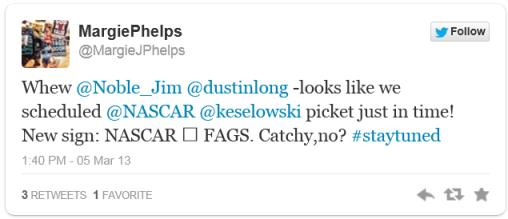 WBC NASCAR tweet